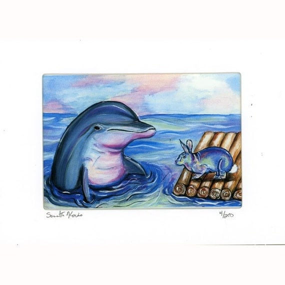 Dolphin and Easter Bunny Rabbit signed and numbered print