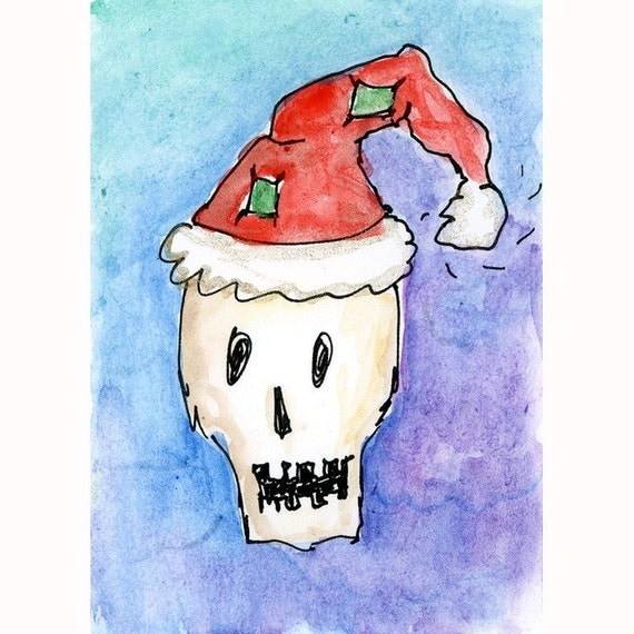 Santa Claus Skull Skeleton Christmas Orginal Painting ATC Artist Trading Card