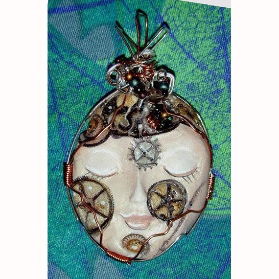 Steampunk Girl  Face Pendant
