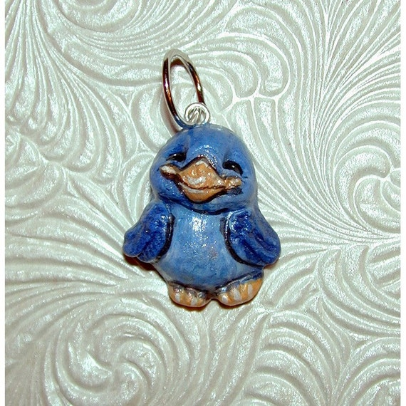 Twitter Tweets Mascot Smiling Blue Bird  Handmade Clay Pendant