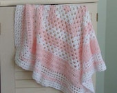 Soft as Heaven Crochet Baby Blanket in Pink and White