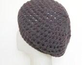 knit lacy beret in pinky purple-y grey
