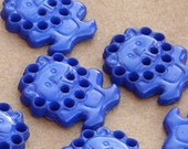 6 blue lion flatback buttons