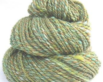 Handspun handdyed Targhee Merino wool viscose sparkle yarn
