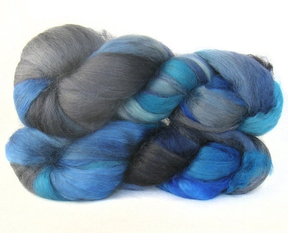 WENSLEYDALE SILK roving top handdyed spinning fibre 3.7 oz