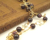 Genuine Star Rubies and Handmade Gold-filled Wire Links Necklace