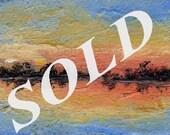Lake, Sunset, Landscape, Original Painting, ACEO, Winjimir, Fine Art, Impressionism, Art Card, Clouds, Lake, Sky, Trees,