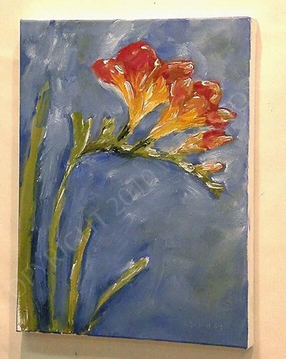 Original Oil Painting Red Yellow  Freesia Spring Floral Flowers Winjimir  Girlie Sweet Chic