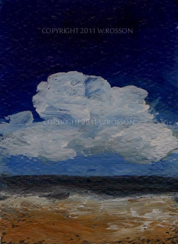 Original Painting ACEO Landscape, Sky, Clouds, Trees, Winjimir, Impressionism, Acrylic painting,