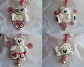 Bear Ornament Gold and Red Set of 4