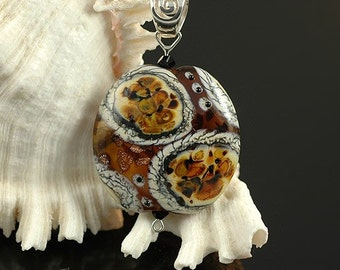Lampwork Glass Bead Pendant - Handmade Tiger Print Glass by Blue Between