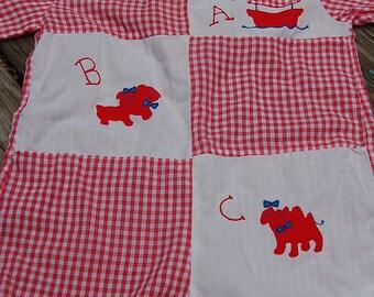 Vintage Red & White Gingham Embroidered ABC Noah's Ark Baby Romper Onesie JonJon  6-9 Months