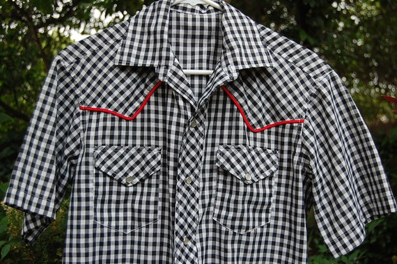 Vintage Black & White Gingham Check Red Piping Western Snap Front Shirt Mens Medium