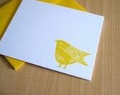 Sweet Yellow Bird - Handmade Stationery - Set of 6