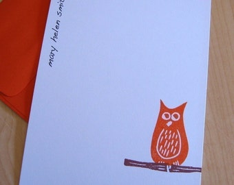 Personalized Stationery - Hand Printed Owl - Set of 12