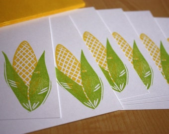Yellow Corn Stationery - Corn Note Cards - Hand Printed Flat Note Stationery - Set of 6