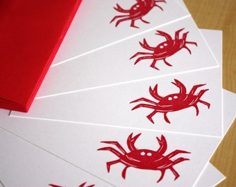 Red Crab Stationery - Crab Note Cards - Hand Printed Flat Note Stationery - Set of 6