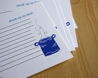 Stockpot Recipe Cards - Soup Stew Recipe Cards - Stock up on this - Family Recipe Cards - Hand Printed Recipe Cards - Set of 5