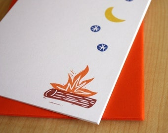 Campfire Stationery - Camping Flat Notes - Camper Stationery Set - Camping Stationery - Hand Printed Stationery - Set of 6
