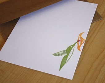 Hummingbird Stationery Set - Bird Note Cards - Hand Printed Stationery - Set of 6