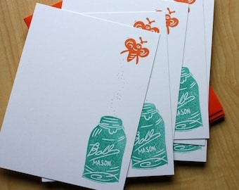 Mason Jar and Firefly Stationery - Ball Jar Note Cards - Hand Printed Stationery - Set of 6