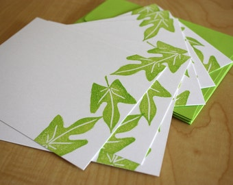 Potato Vine Leaves - Handmade Flat Note Stationery - Set of 6