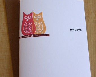 Owl Love Greeting Card - Valentine's Day Owl Card - Anniversary Owl Love Greeting Card - Hand Printed Owl Greeting Card