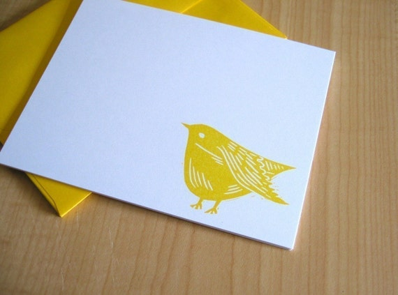 Sweet Yellow Bird - Handmade Stationery - Set of 6