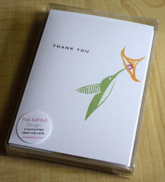 Hummingbird Thank You - Handmade Cards - Box of 6