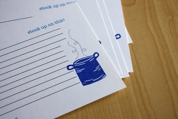 Stockpot - Stock up on this - Handmade Recipe Cards - Set of 5