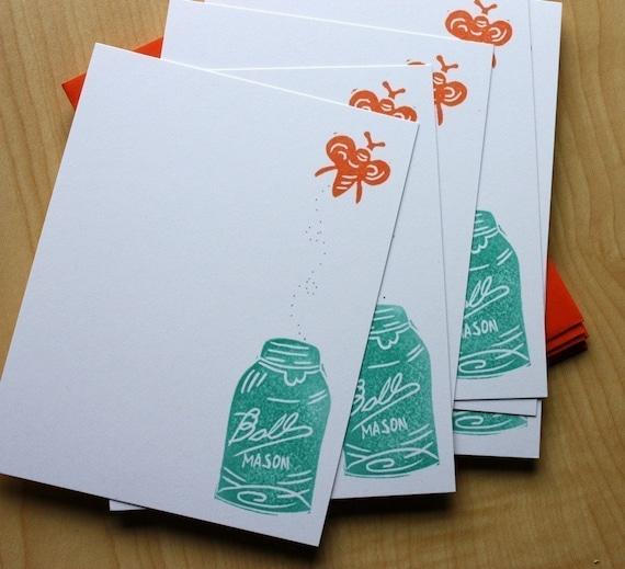 Mason Jar and Firefly - Handmade Stationery - Set of 6