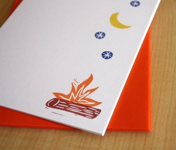 Campfire Flat Notes - Handmade Stationery - Set of 6