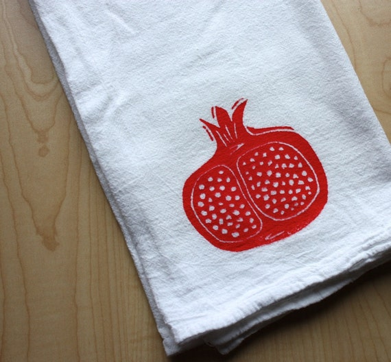 Pomegranate - Cotton Flour Sack Towel - Hand Screen Printed