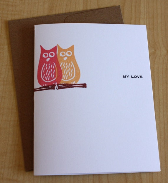Owls - My Love - Greeting Card - Valentines Day