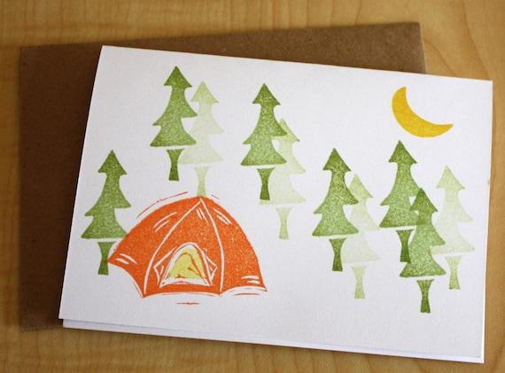 Moonlit Camping - Handmade Blank Note Cards - Set of 2