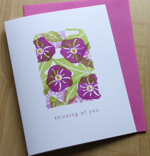Thinking of You - Impatiens and Potato Vine - Handmade Greeting Card - Mosaic Note Series