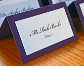 Final Payment Purple Double Layer Tented  Script  Escort Cardst for Heather
