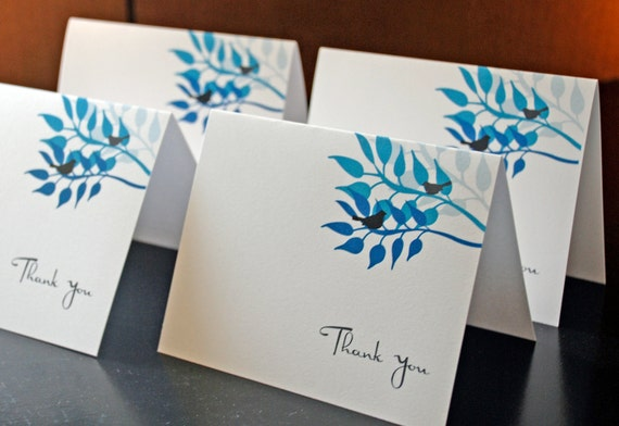 Modern Blue Bird Elegant Thank You Notes Set of 25