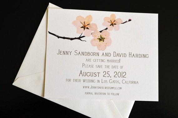 Cherry Blossom Save the Date Cards or Postcards
