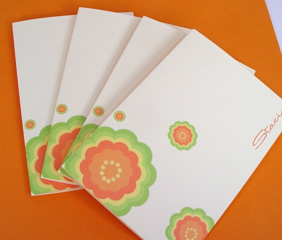 Tropicana Floral Personalized Notecards set of 4