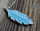 Light Blue Porcelain Feather Necklace - Handmade Pottery