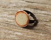 Shino Porcelain Circle Adjustable Ring