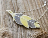 Yellow and Gray Porcelain Feather Necklace - Handmade Pottery