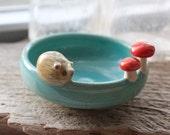 Hedgehog and Mushrooms on a Little Aqua Blue Bowl