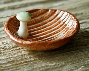 Custom-Made Wood Grain Pottery Tray with Mushroom - Faux Bois - 3-4 Weeks for Delivery
