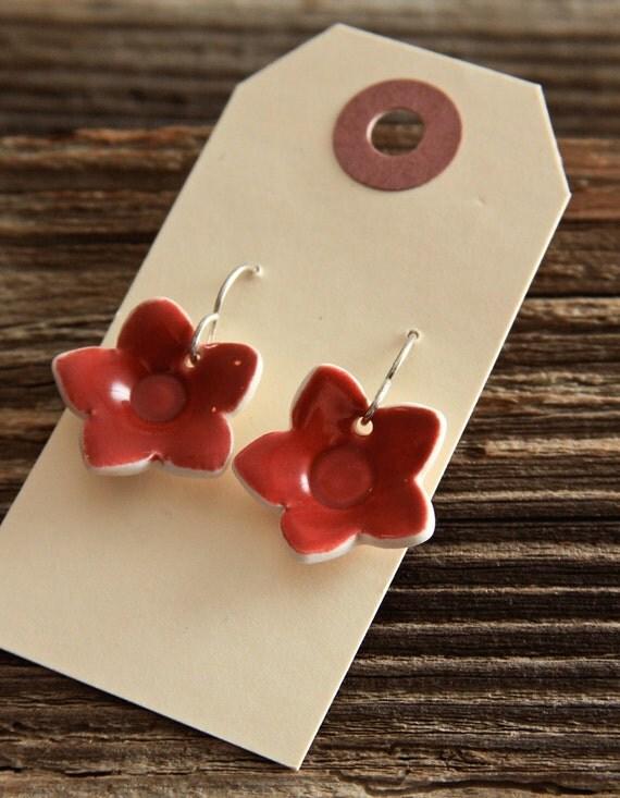 Earrings - Red Porcelain Flowers - ON SALE