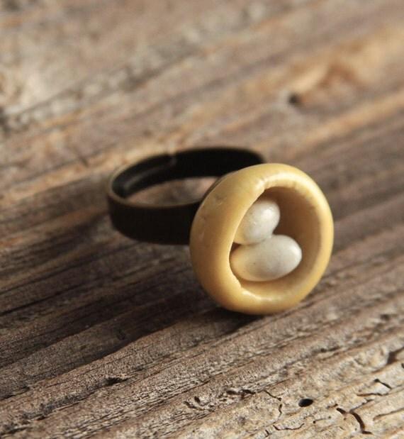 Bird Nest Porcelain Adjustable Ring