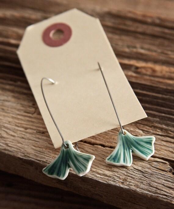 Ginkgo Porcelain Earrings - Long Kidney Shaped Ear Wires - ON SALE