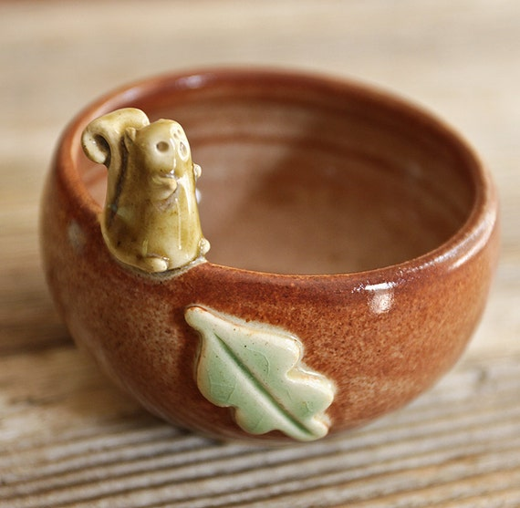 Squirrel with Acorn and Leaf on a Tiny Little Brown Bowl