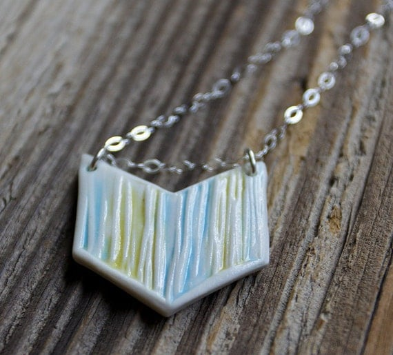 CLEARANCE - Blue and Yellow Porcelain Simple Chevron Necklace - Handmade Pottery